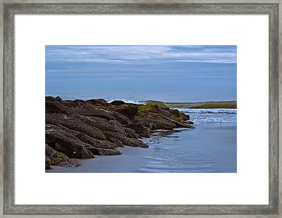 Jetty Vs Waves Framed Print