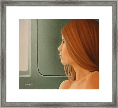 Jeune Fille Dans Un Train Framed Print by Michel Campeau
