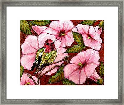 Framed Print featuring the painting Jewel Among Blooms by VLee Watson