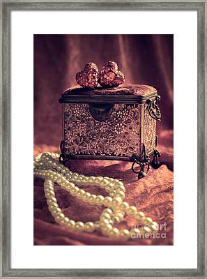 Jewel Casket And Pearls Framed Print by Amanda Elwell