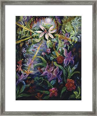 Jewel In The Lotus Framed Print by Shari Silvey
