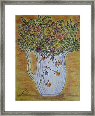 Framed Print featuring the painting Jewel Tea Pitcher With Marigolds by Kathy Marrs Chandler