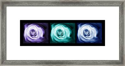 Jewel Tone Abstract Roses Triptych Framed Print by Jennie Marie Schell