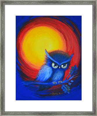 Jewel-tone Vortex With Owl Framed Print