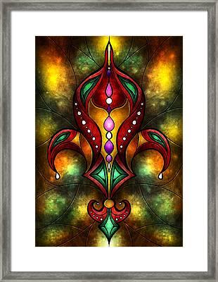 Jeweled Fleur De Lis Framed Print