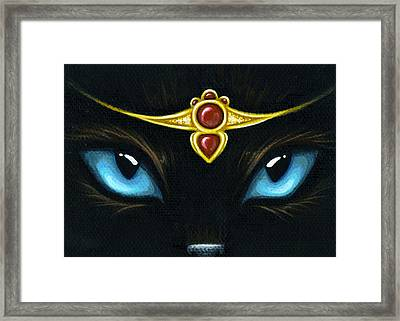 Jeweled Kitty Garnet Framed Print