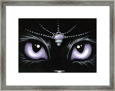 Jeweled Kitty Lilac Topaz Framed Print by Elaina  Wagner