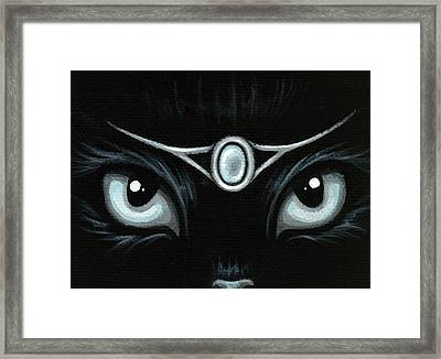 Jeweled Kitty Moonstone Framed Print by Elaina  Wagner