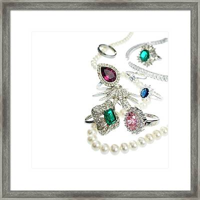 Jewellery With Gemstones And Diamonds Framed Print by Science Photo Library