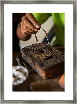 Framed Print featuring the photograph Jewelry Making - Bali by Matthew Onheiber
