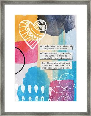 Jewish Home Blessing With Heart- Cards And Prints Framed Print by Linda Woods