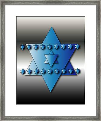 Framed Print featuring the digital art Jewish Stars by Marvin Blaine