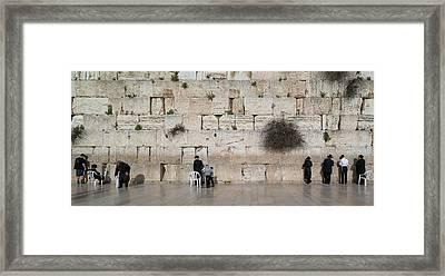 Jews Praying At Western Wall Framed Print