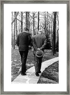 Jfk & Eisenhower At Camp David Framed Print