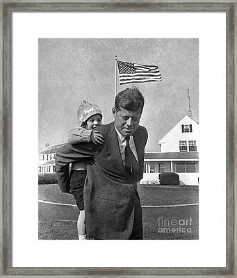 Framed Print featuring the photograph Jfk And Caroline Kennedy 1960 by Martin Konopacki Restoration