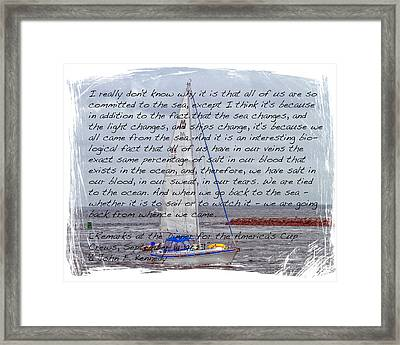 J F K And The Sea Framed Print