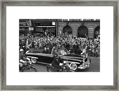 Jfk Cavalcade Dublin 1963 Framed Print by Irish Photo Archive