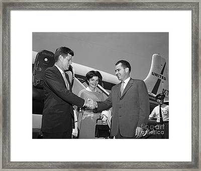 Framed Print featuring the photograph Jfk Jackie And Nixon 1959 by Martin Konopacki Restoration
