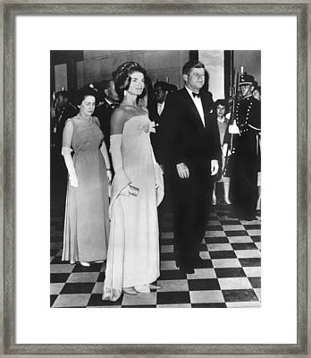 Jfk Mexico Reception Framed Print by Underwood Archives