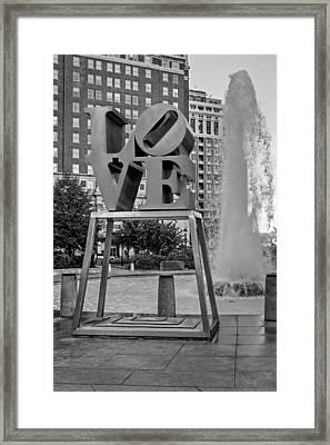 Jfk Plaza Love Park Bw  Framed Print