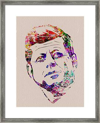 Jfk Watercolor Framed Print by Naxart Studio