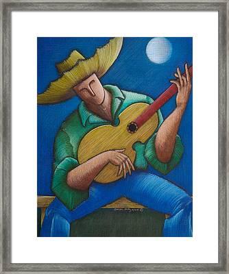 Jibaro Bajo La Luna Framed Print by Oscar Ortiz