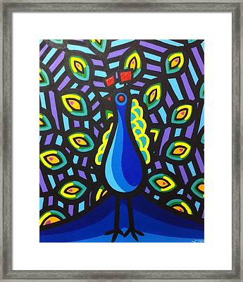 Jillian's Peacock Framed Print by John  Nolan