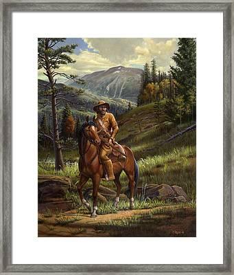 Jim Bridger - Mountain Man - Frontiersman - Trapper - Wyoming Landscape Framed Print by Walt Curlee
