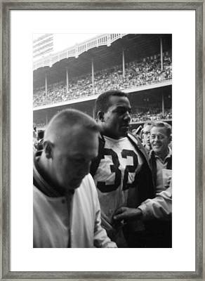 Jim Brown After Game Fans Clapping Framed Print by Retro Images Archive