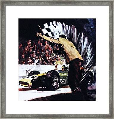 Jim Clark Wins America's Big Race Framed Print by James Edwin McConnell