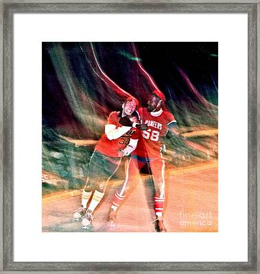 Framed Print featuring the photograph Jim Fitzpatrick Vs Charles Gipson Battling In Old School Roller Derby With The Sf Bay Bombers by Jim Fitzpatrick