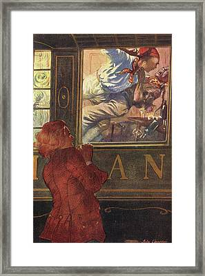 Jim Hawkins Sees Israel Hands  And Red Framed Print by Mary Evans Picture Library