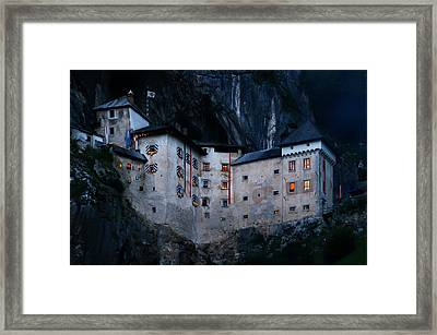 Framed Print featuring the photograph Jim Jam Predjama Castle by Graham Hawcroft pixsellpix