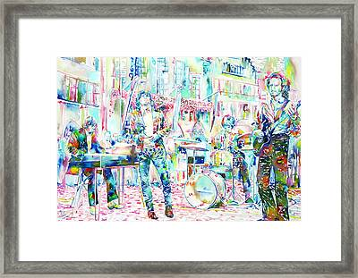 Jim Morrison And The Doors Live Concert In The Street Framed Print by Fabrizio Cassetta