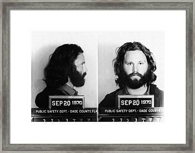 Jim Morrison Mug Shot In Black And White Framed Print by Bill Cannon
