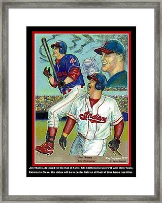 Jim Thome Cleveland Indians Framed Print by Ray Tapajna