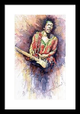 Rock Guitarist Art Jimi Hendrix Framed Prints