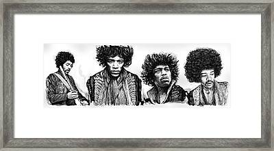 Jimi Hendrix Art Drawing Sketch Poster  Framed Print
