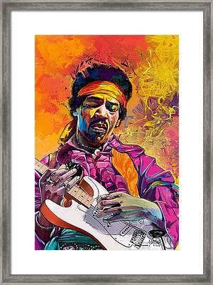 Jimi Hendrix #1 Framed Print by Ruben Furio