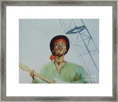 Jimi Hendrix At Woodstock Framed Print by Martin Howard