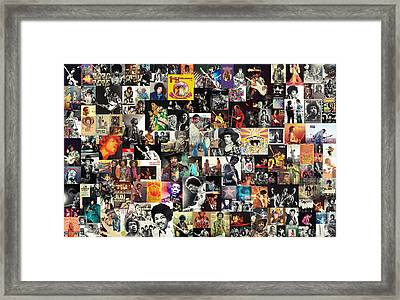 Jimi Hendrix Collage Framed Print by Taylan Apukovska