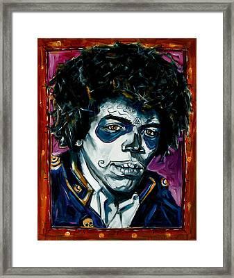 Jimi Hendrix Day Of The Dead Framed Print by Jennifer Cahoon