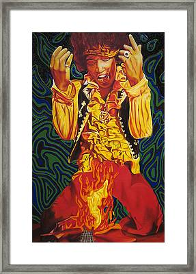 Jimi Hendrix Fire Framed Print by Joshua Morton