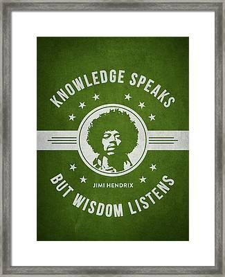 Jimi Hendrix - Green Framed Print