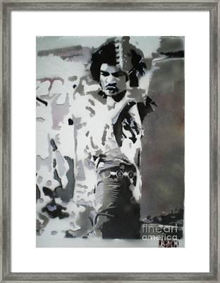 Jimi Hendrix  On Plexiglass Framed Print by Barry Boom