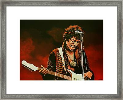 Jimi Hendrix Painting Framed Print by Paul Meijering