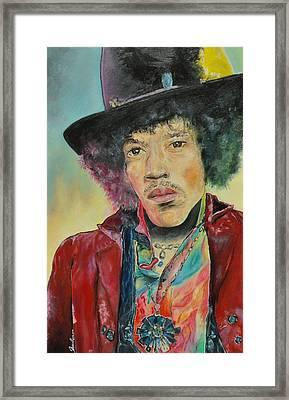 Jimi Hendrix Framed Print by Paula Sharlea