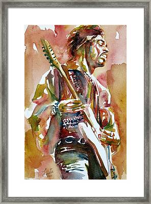 Jimi Hendrix Playing The Guitar Portrait.3 Framed Print
