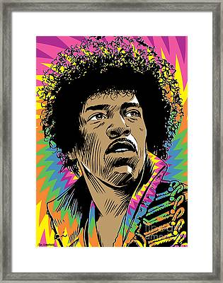 Jimi Hendrix Pop Art Framed Print by Jim Zahniser