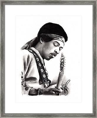 Jimi Hendrix Framed Print by Rosalinda Markle